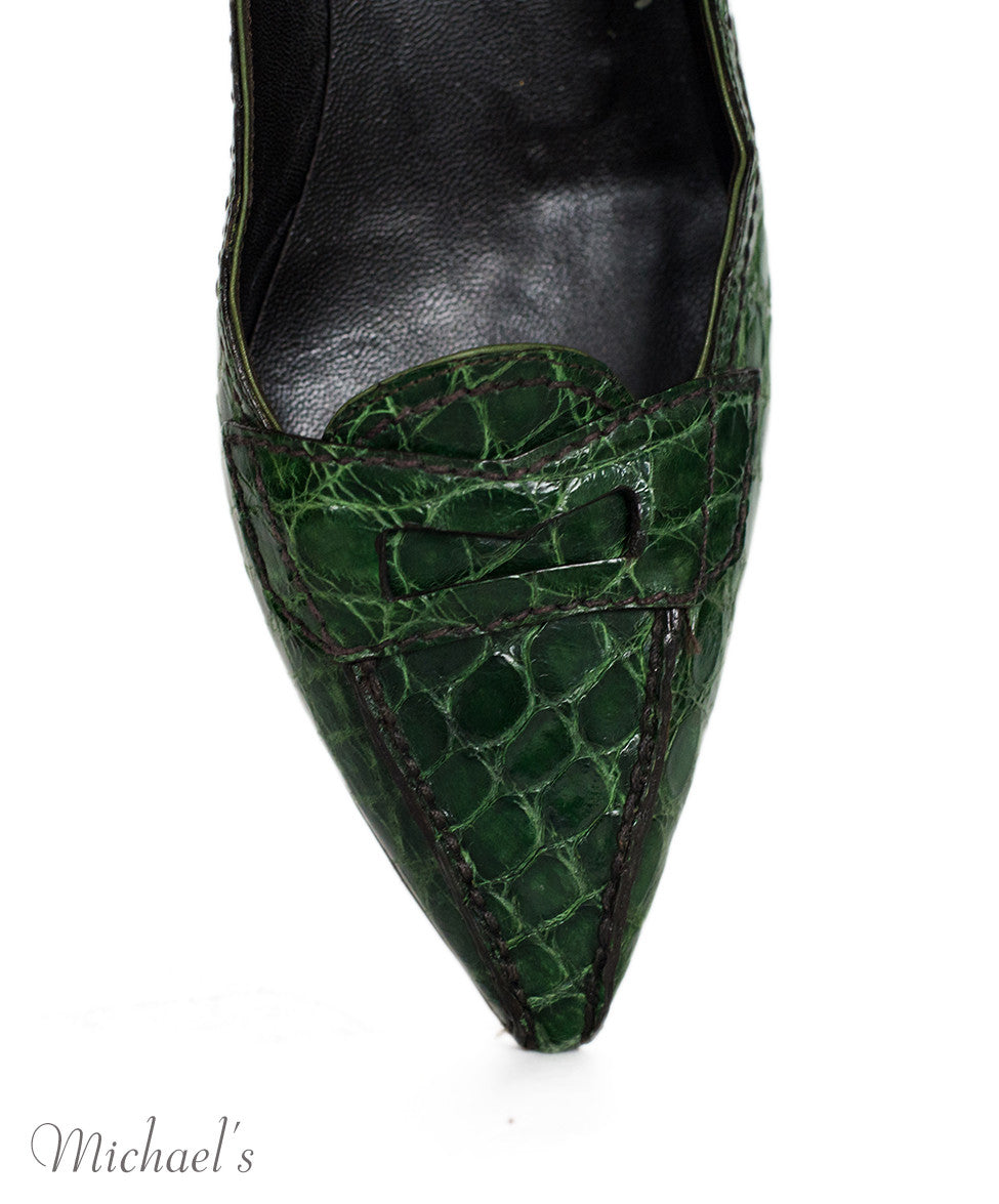 Prada Green Crocodile Loafer Flats Sz 36.5 - Michael's Consignment NYC  - 6