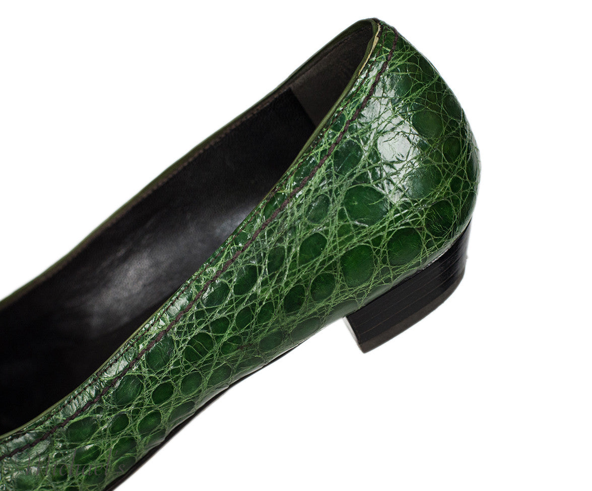 Prada Green Crocodile Loafer Flats Sz 36.5 - Michael's Consignment NYC  - 7