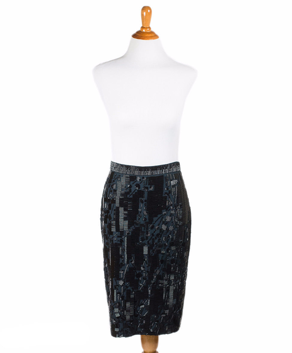 Prada Black Cotton Beaded Skirt Sz 2 - Michael's Consignment NYC  - 1