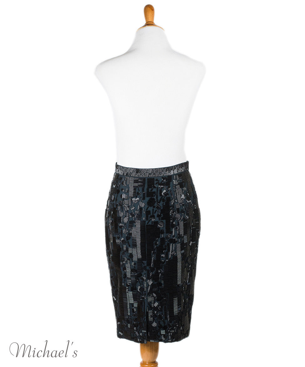 Prada Black Cotton Beaded Skirt Sz 2 - Michael's Consignment NYC  - 3