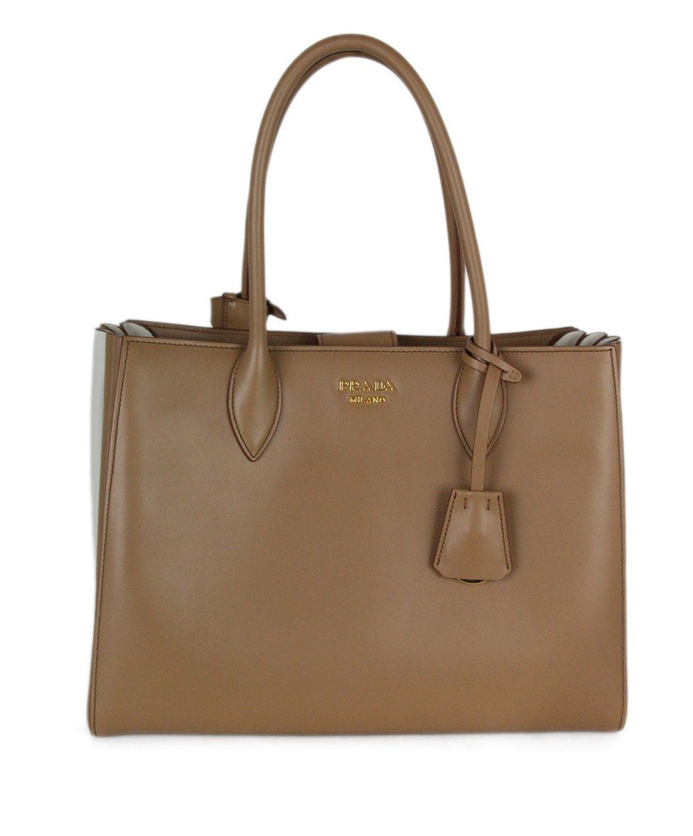 Prada Neutral Tan Ivory Leather Tote Handbag 1