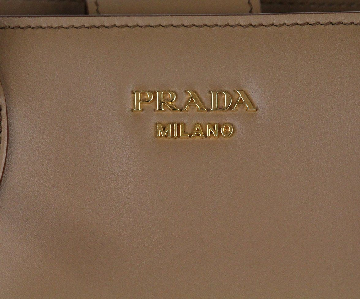 Prada Neutral Tan Ivory Leather Tote Handbag 7