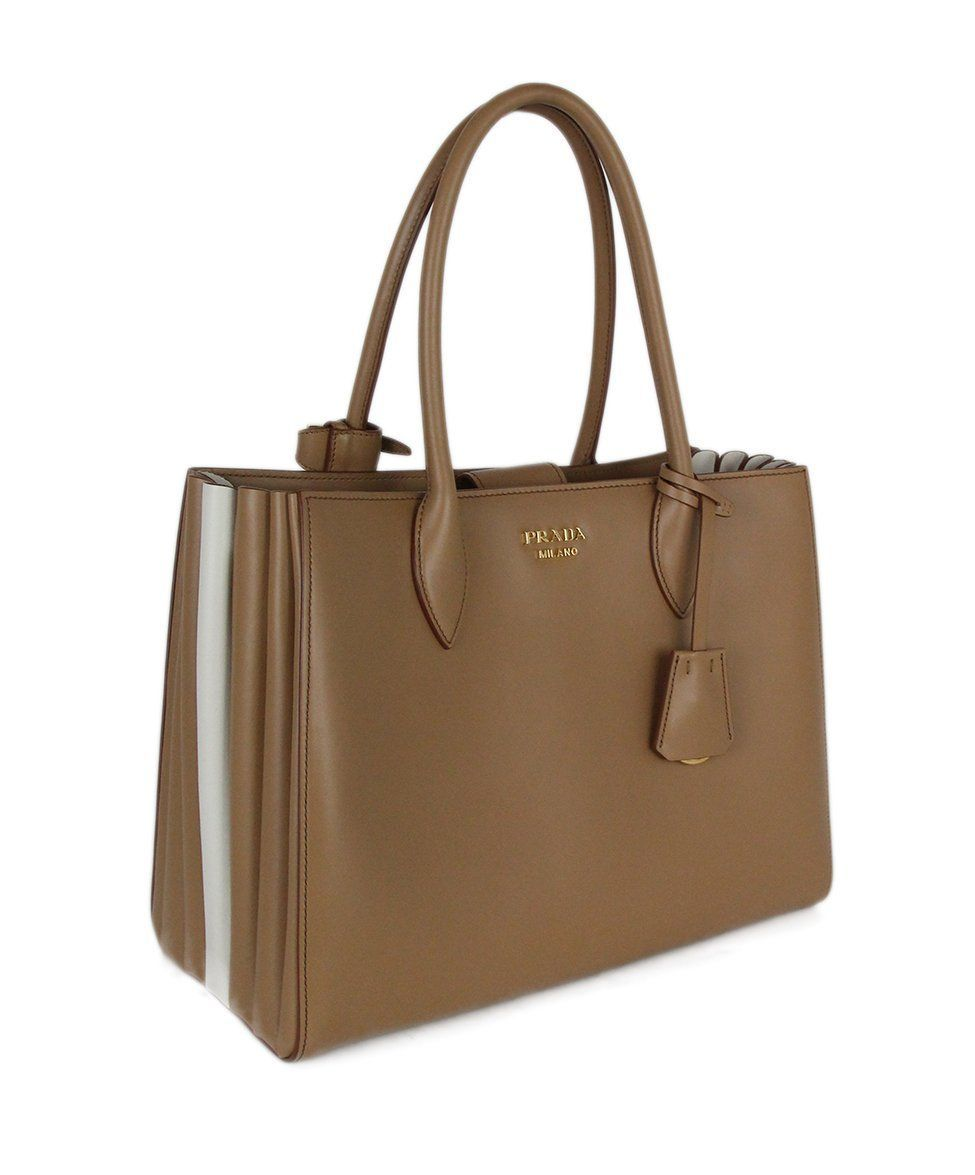 Prada Neutral Tan Ivory Leather Tote Handbag 2