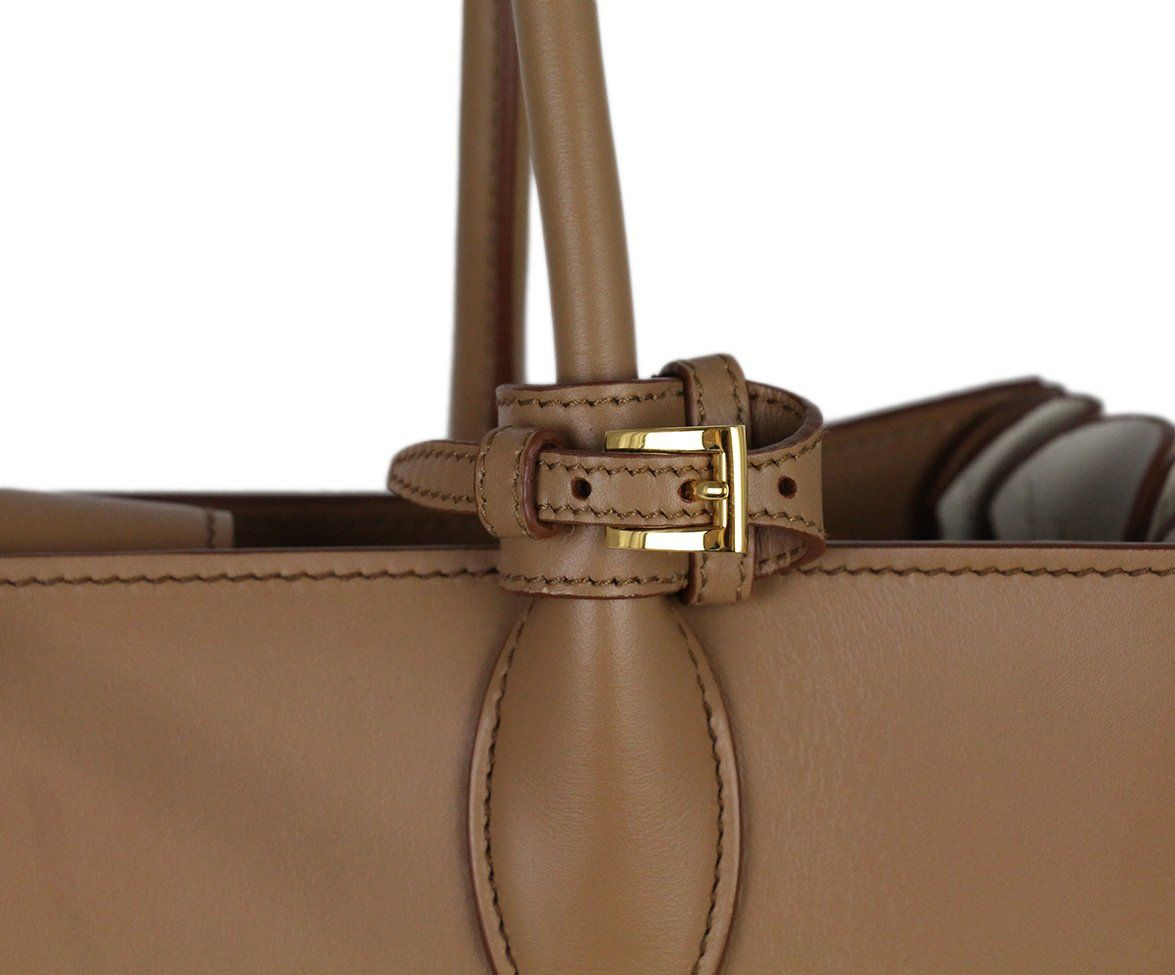 Prada Neutral Tan Ivory Leather Tote Handbag 8