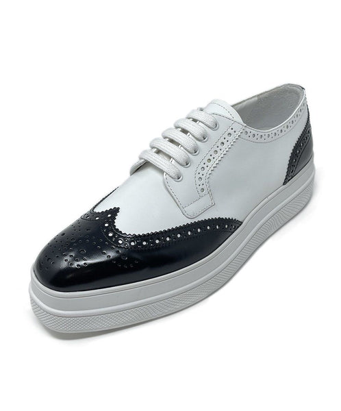 Prada White Black Leather Oxford Shoes