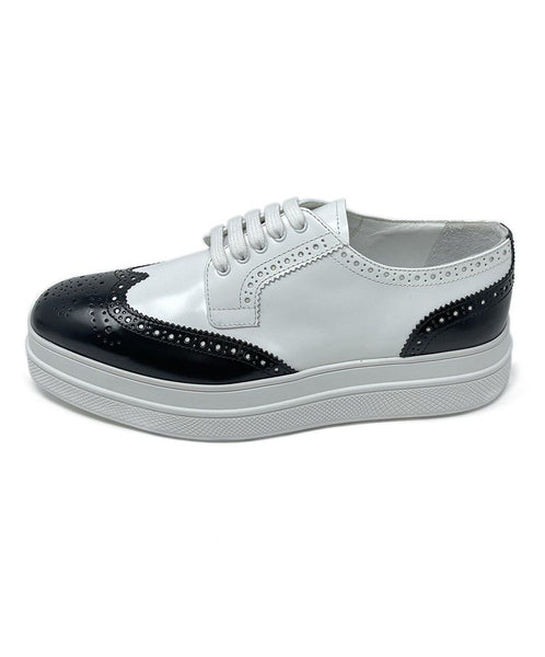 Prada White Black Leather Oxford Shoes 1