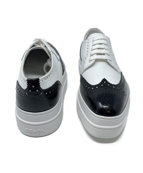 Prada White Black Leather Oxford Shoes 2