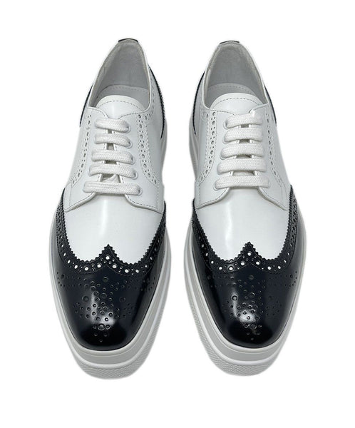Prada White Black Leather Oxford Shoes 3