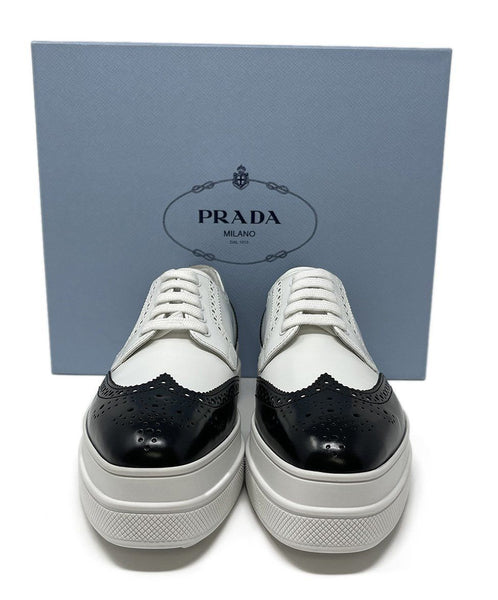 Prada White Black Leather Oxford Shoes 5