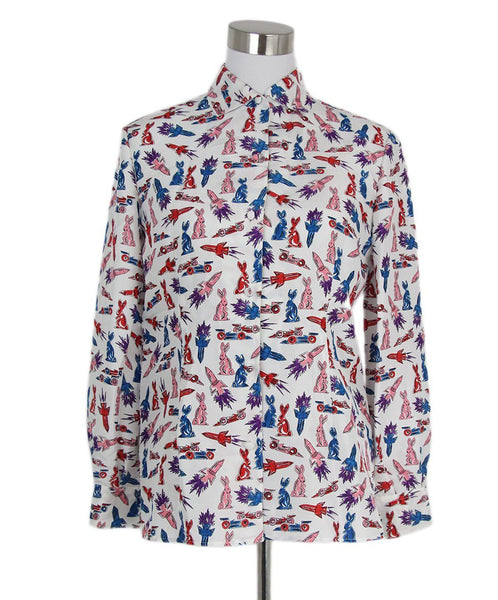 Prada white pink red print blouse 1