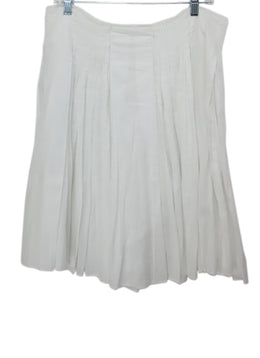 Prada White Pleated Cotton Skirt 1