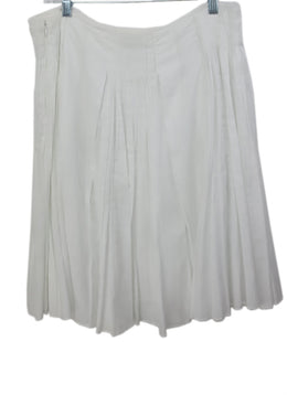 Prada White Pleated Cotton Skirt 2