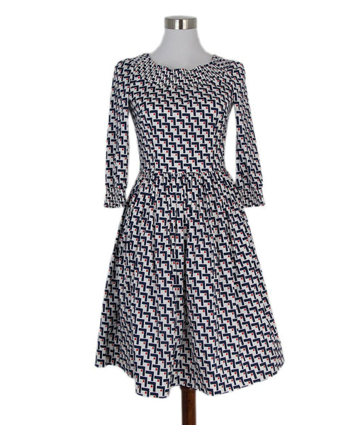 Prada white red blue print dress 1