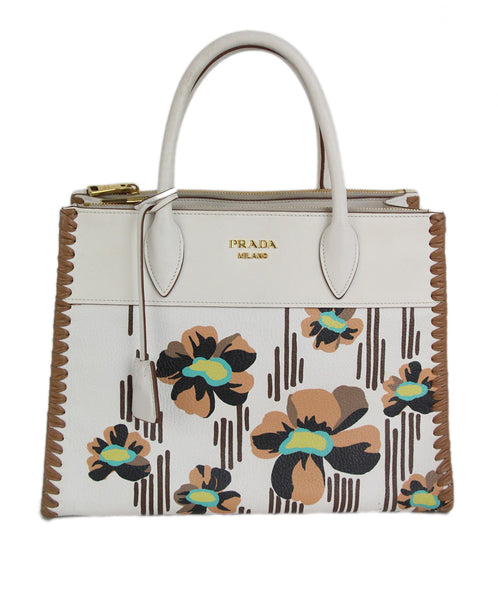 Prada white tan aqua floral leather tote 1
