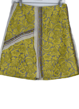 Prada Yellow Grey Floral Wool Skirt 1