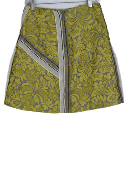 Prada Yellow Grey Floral Wool Skirt 2