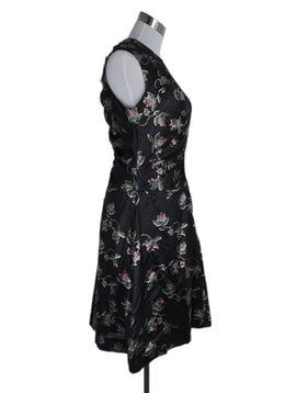 Preen Black Red Floral Lurex Evening Dress 2