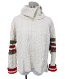 Preen Ivory Wool Red Olive Stripes Sweater