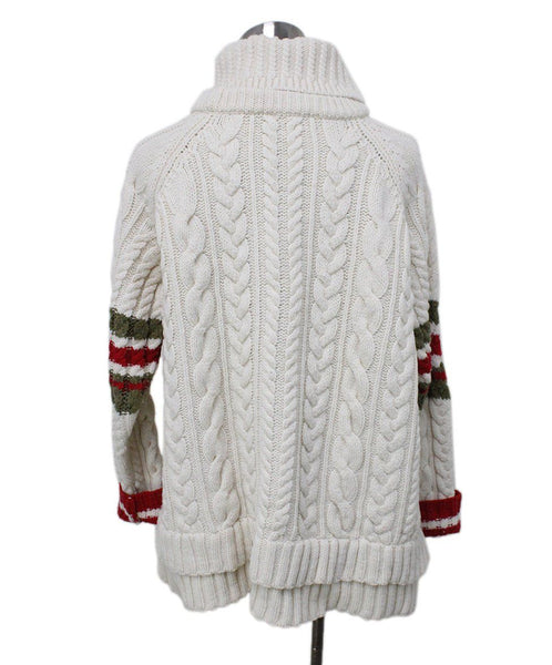 Preen Ivory Wool Red Olive Stripes Sweater 2