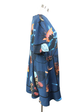 Proenza Schouler Blue Black Peach Print Viscose Dress 2