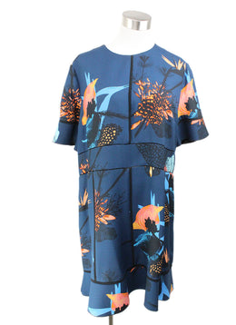 Proenza Schouler Blue Black Peach Print Viscose Dress 1