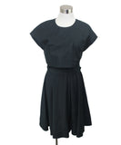 Short Proenza Schouler Black Cotton Silk W/2 Belts Dress 1