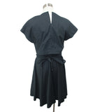Short Proenza Schouler Black Cotton Silk W/2 Belts Dress 3