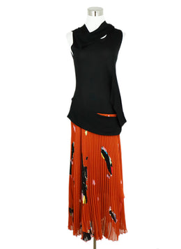 Proenza Schouler Black Polyamide Rust Floral Dress 1
