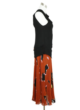 Proenza Schouler Black Polyamide Rust Floral Dress 2