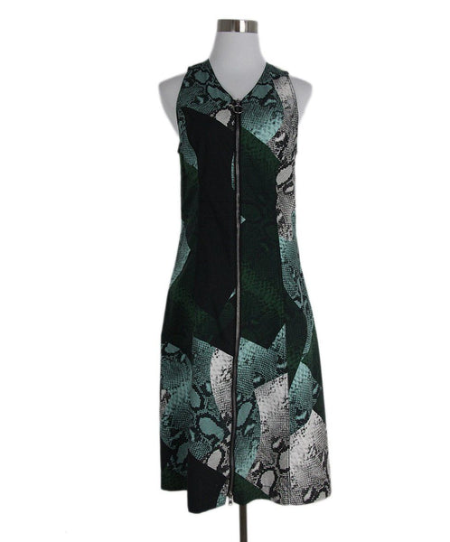 Proenza Schouler green black white cotton dress 1