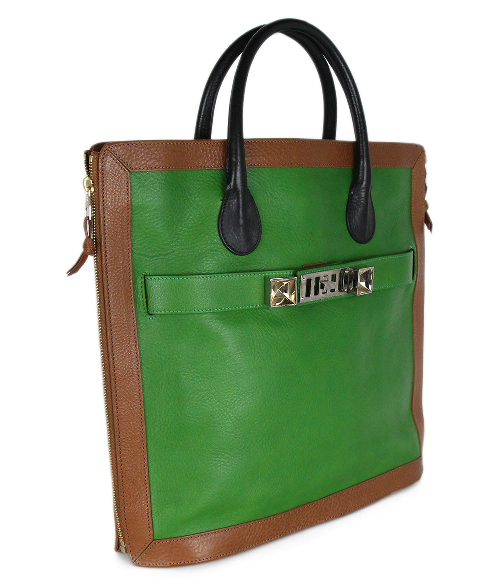 Proenza Schouler Green Tan Black Leather Handbag 2