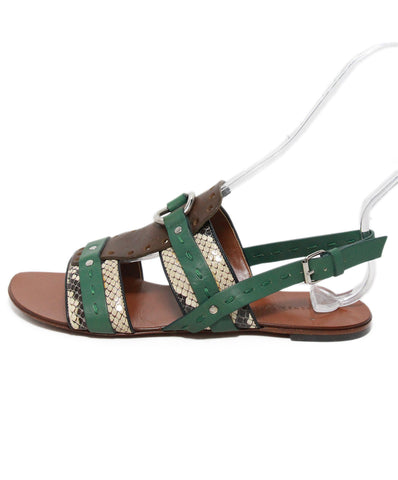Proenza Schouler Green Tan Leather Sandals 1