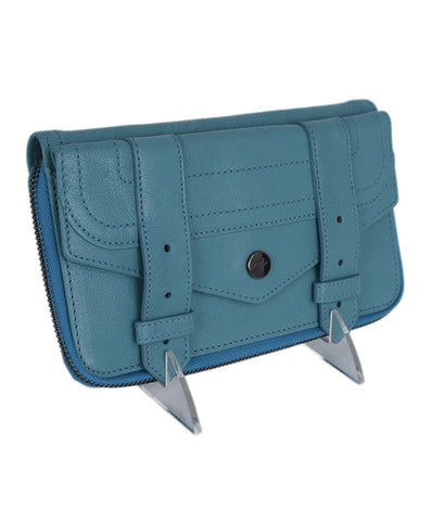Proenza Schouler Blue Teal Leather Leather Wallet 1