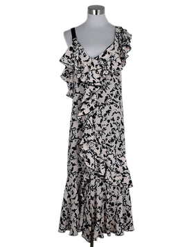 Proenza Schouler Pink Black Floral Silk Dress 1