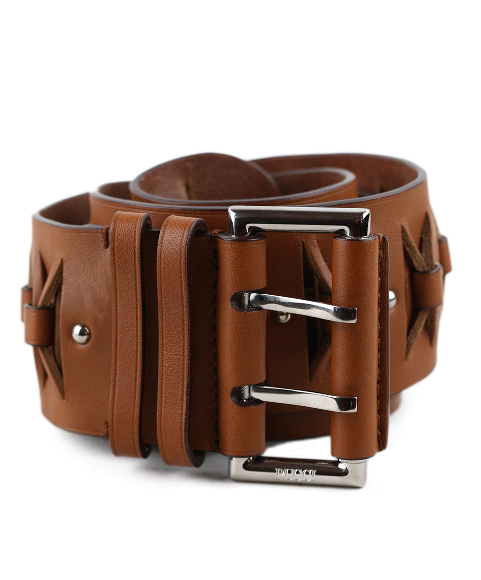 Emilio Pucci Brown Tobacco Leather Belt - Michael's Consignment NYC  - 1