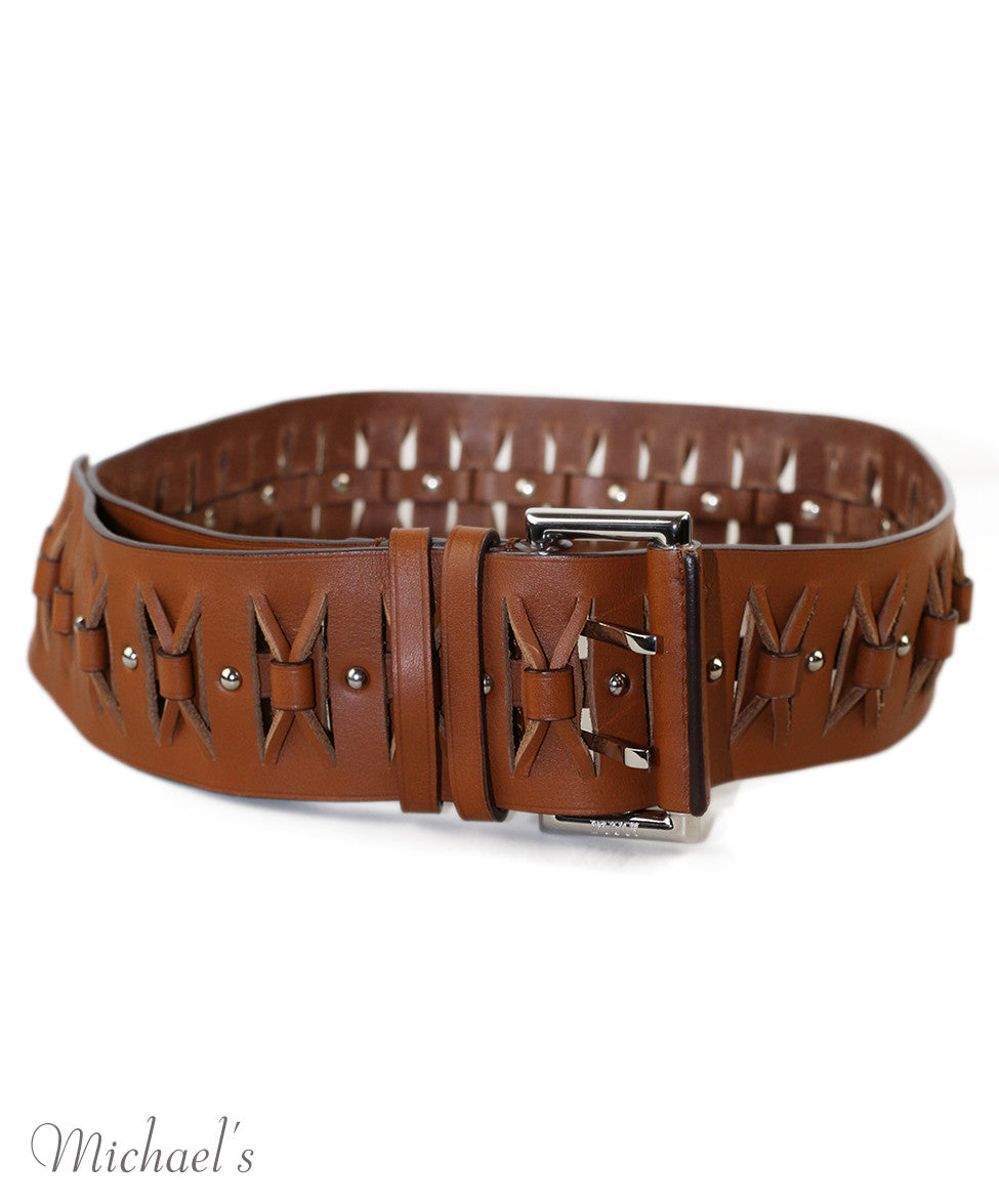 Emilio Pucci Brown Tobacco Leather Belt - Michael's Consignment NYC  - 2
