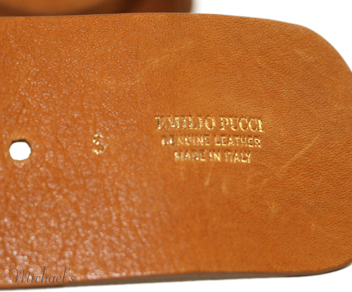 Emilio Pucci  Tobacco Leather Belt - Michael's Consignment NYC  - 4