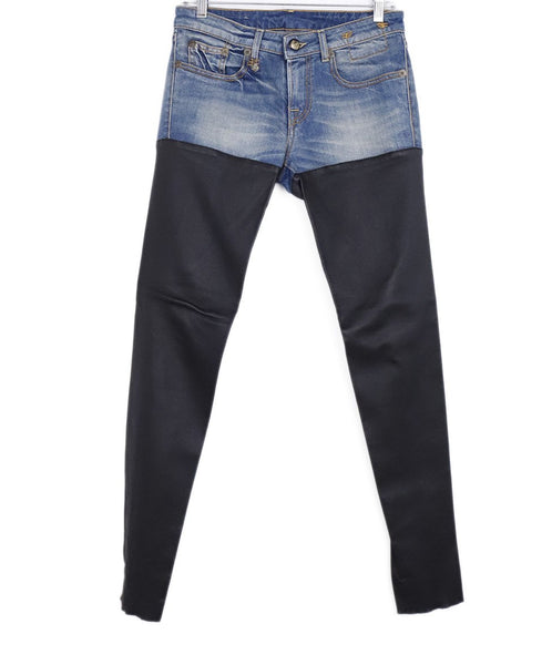 R13 Blue Denim Black Leather Pants 1