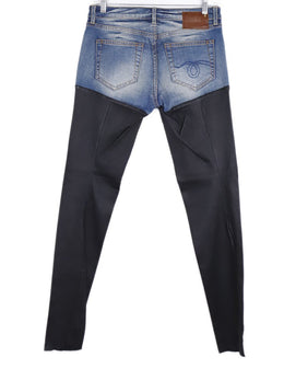 R13 Blue Denim Black Leather Pants 2