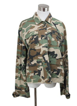 R+A Green Olive Black Camouflage Cotton Jacket 1