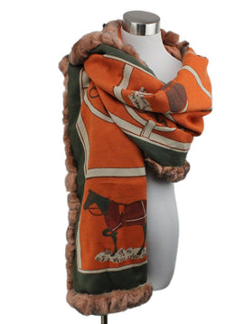 Diana Bosh Orange Green Print Scarf with Rabbit Fur Trim 1