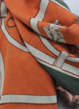Diana Bosh Orange Green Print Scarf with Rabbit Fur Trim 2
