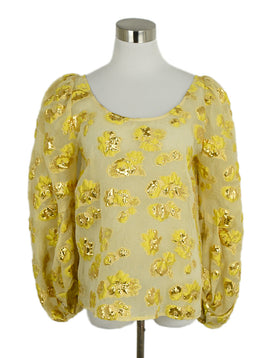 Rachel Comey Yellow Gold Polyester Silk Top 1