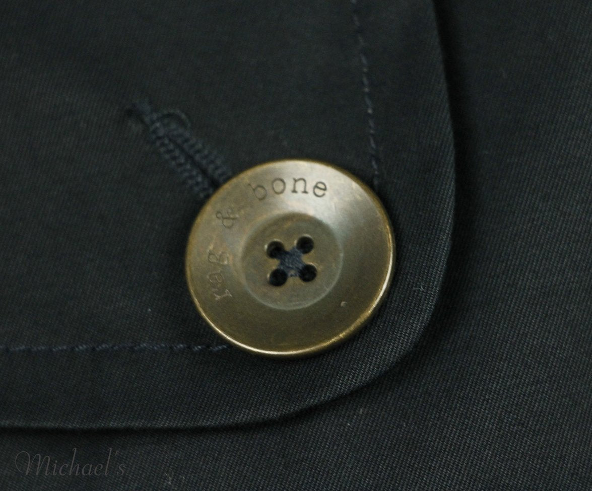 Rag & Bone Navy Cotton Twill Coat Sz 6
