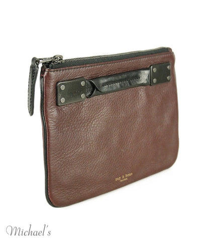 Rag & Bone Burgundy Black Leather Cosmetic Bag