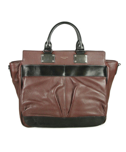 Rag & Bone Brown Burgundy Leather Black Trim Handbag