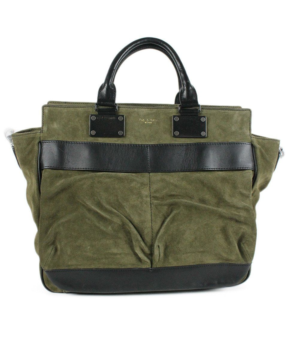 Rag & Bone Green Olive Suede Black Handbag - Michael's Consignment NYC  - 1