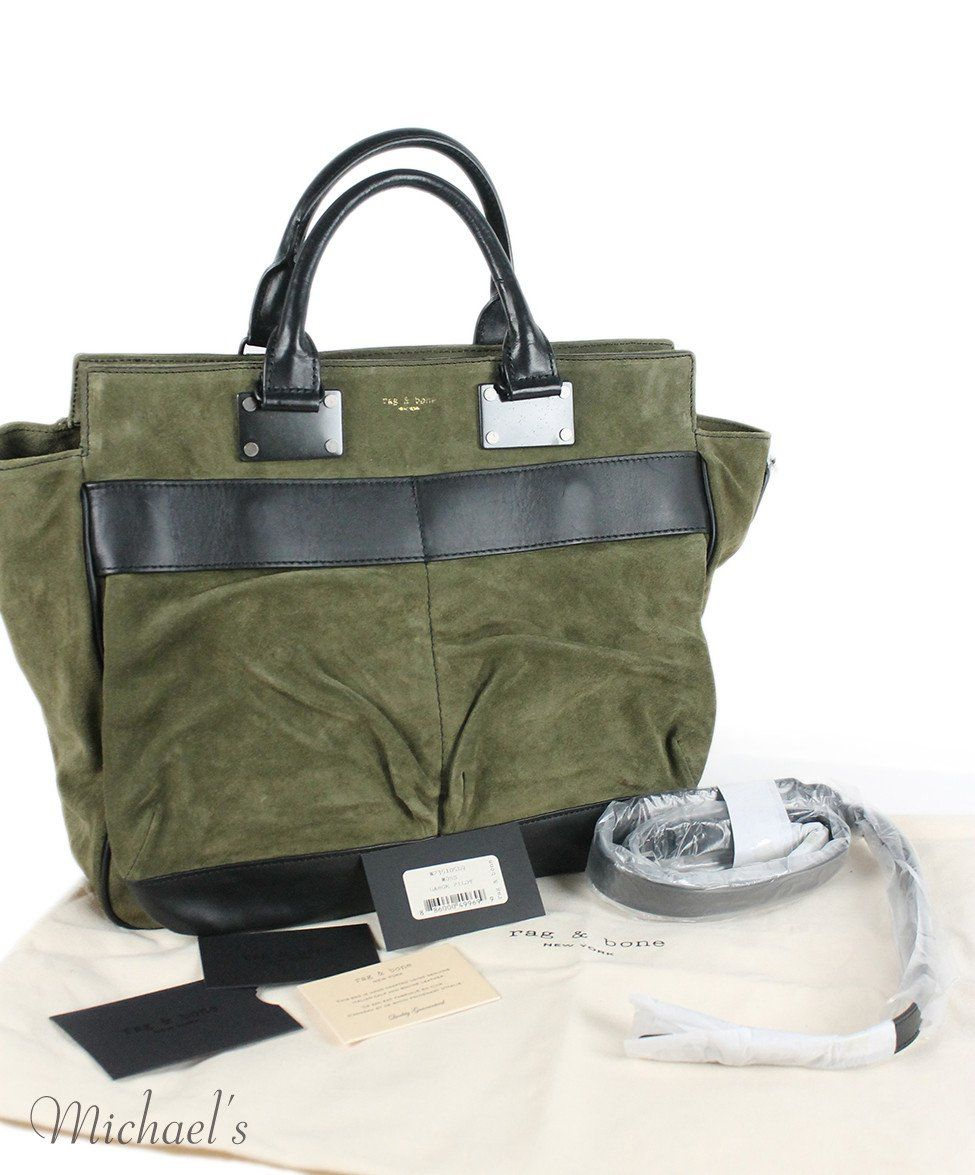 Rag & Bone Green Olive Suede Black Handbag - Michael's Consignment NYC  - 10