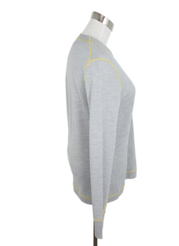 Rag & Bone Grey Wool Yellow Stitching Cardigan 2