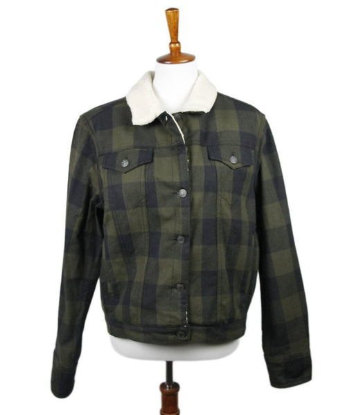 Rag & Bone Black Olive Plaid Cotton Fleece Outerwear Sz 8
